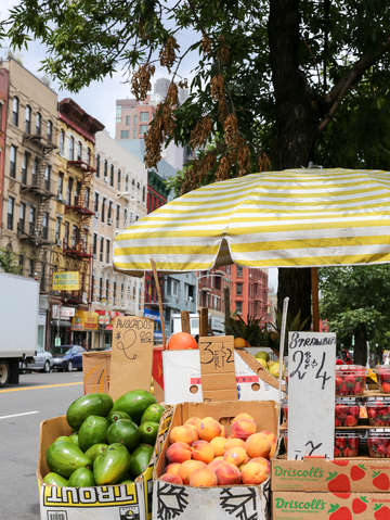 Fruit stand close up on the lower east side nyc
