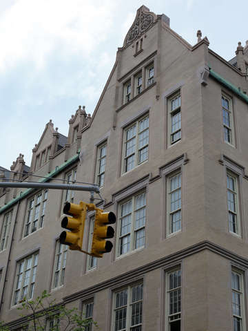 Lower east side building with traffic signal