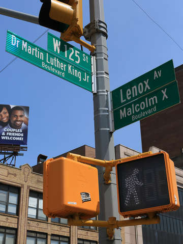 Street sign w 125th st harlem nyc new york