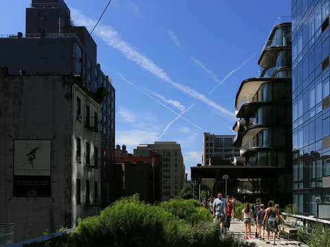 An x in the sky above the high line in chelsea nyc