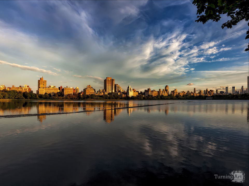 Central park reservoir and skyline
