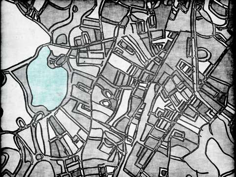 Abstract map of jamaica plain