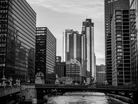 Chicago river black and white
