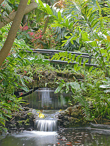 Two waterfalls in sunken gardens