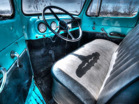 Blue ford interior