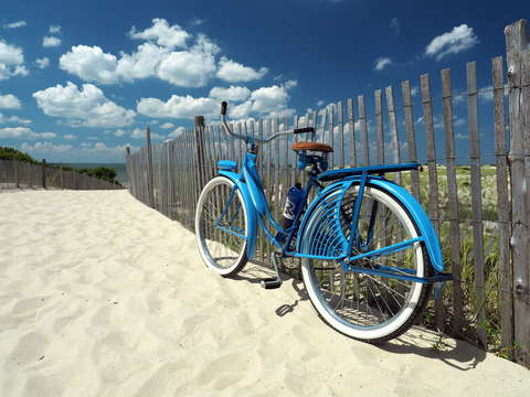 The old blue bike heads to the cape
