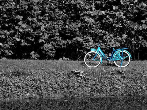 The old blue bike on the blue trail