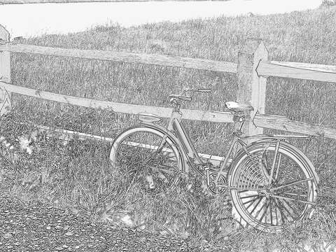A sketch of the old blue bike at rest