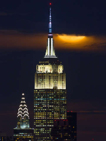 Supermoon rises above empire state building