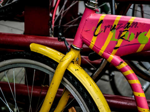 Pink and yellow bike in providence rhode island
