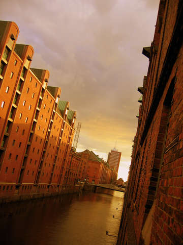 Canal in the hafencity hamburg