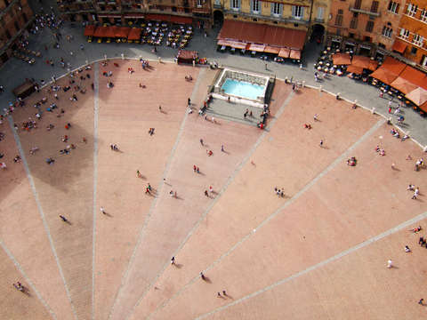 Italy siena view of the piazza del campo from the