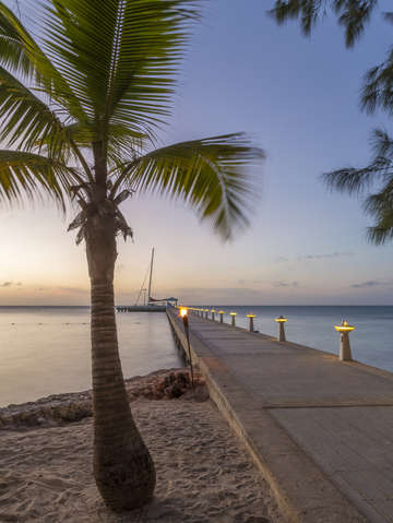 Rum point pier at sunset 2