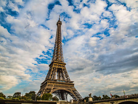 Cloud covered eiffel tower