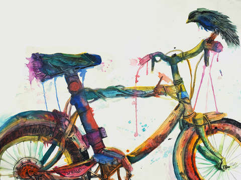 Tired bicycle with bird drips color on the pavemen