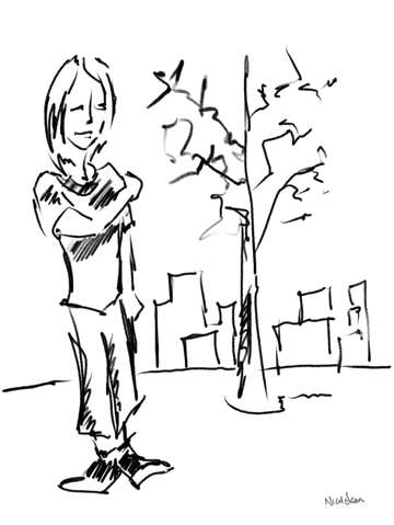 Line drawing of a girl and a tree