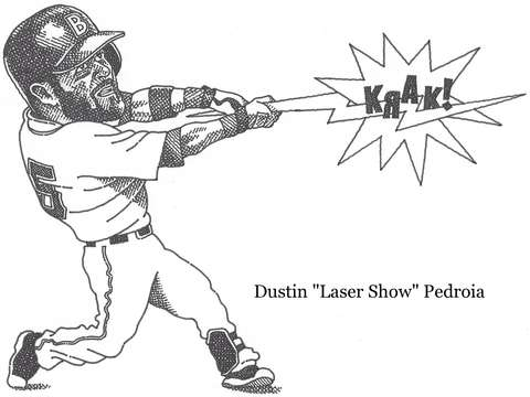 Red sox second baseman dustin pedoias laser show