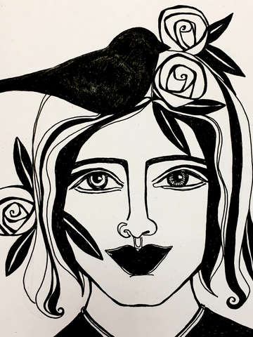 Flower bird woman i detail