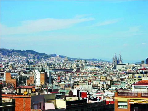 View of barcelona spain sagrada familia in the dis