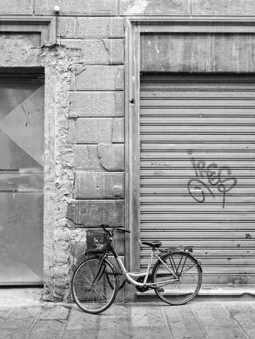 Bicycle on the streets of florence italy