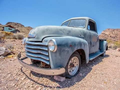 Old blue chevy in the desert