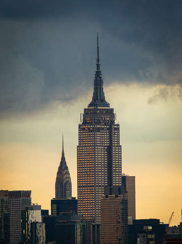 Empire state building after storm
