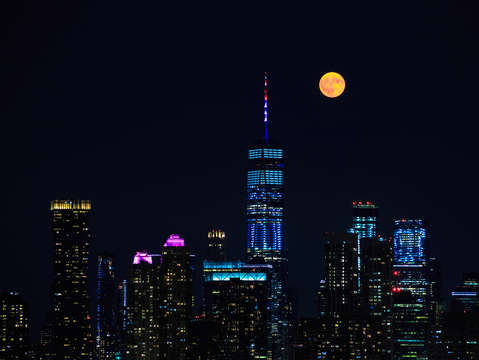Full moon and freedom tower