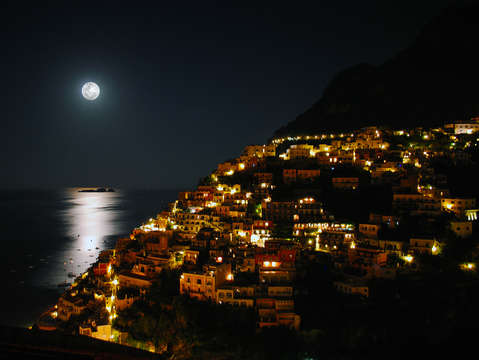 Moonlit siren islands from positano italy
