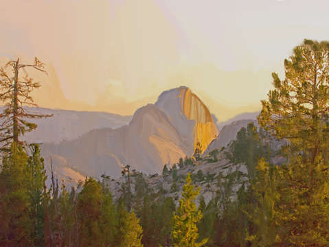 Half dome from olmsted point near sunset