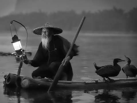 Cormorant fisherman in black white on the li river