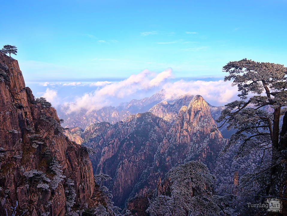 Huangshan mountain first light 3x2