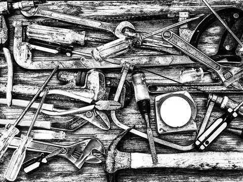 Tools of the trade grayscale