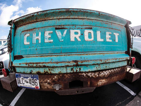 Turquoise classic chevy pickup