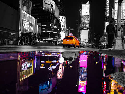 Times square night spot color reflection