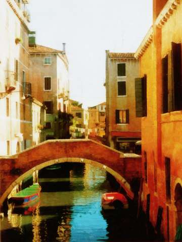 Venice italy canal with boat