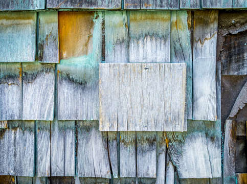 Blue barn shingles