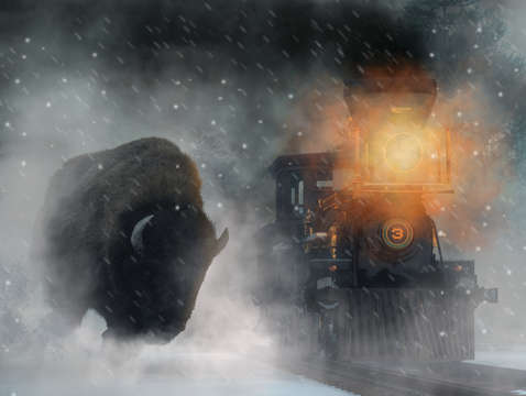 Giant buffalo attacking train