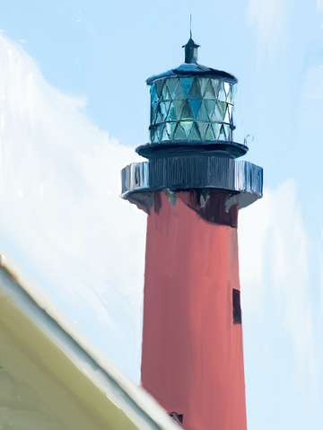 Jupiter inlet lighthouse digital painting portrait