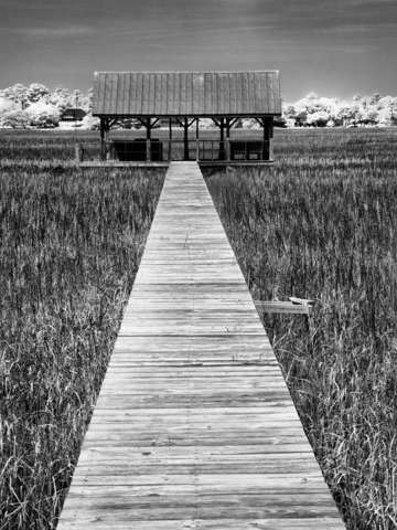 The dock house in bw infrared