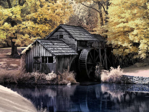 Mabry Mill Closeup in Faux Color Infrared