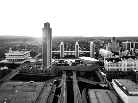 Black and white albany aerial
