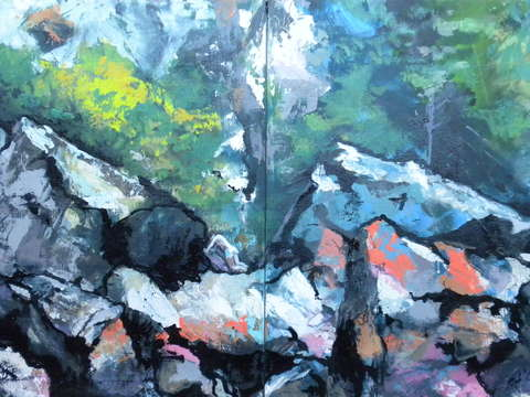Rocks at lopez island diptych