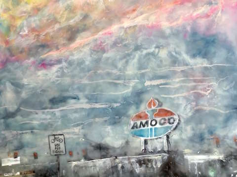 On the way home the amoco sign