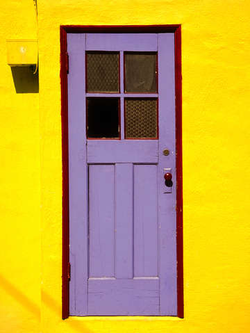 Purple door yellow wall