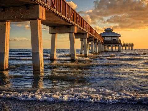 Florida fishing pier sunset fort myers beach