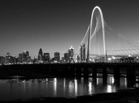 Dallas skyline dawn grayscale