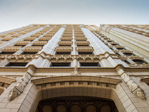 Looking up at art deco in tulsa