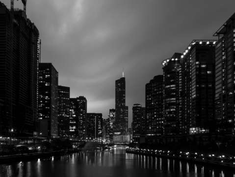 Lightning over chicago river grayscale