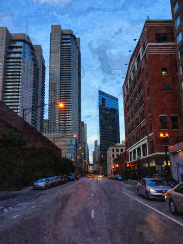 Chicago evening drive painterly