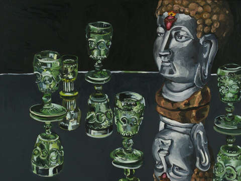 Buddha with goblets